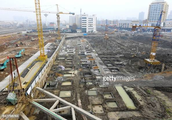 This photo taken on February 16 2017 shows a construction site in Lianyungang in China's Jiangsu province Chinese banks granted new loans in January...