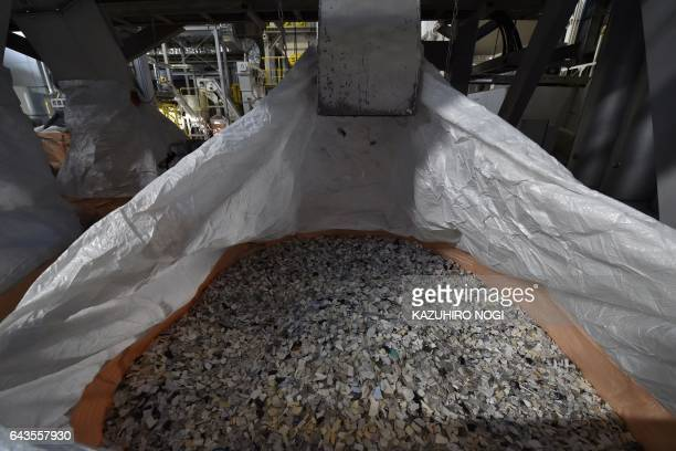This photo taken on February 21 2017 shows sorted plastic resin at a Panasonic recycling factory in Inashiki Ibaraki prefecture The factory which is...