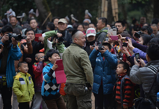 This Photo Taken On February 4 2014 Shows A Chinese Tourist Posing