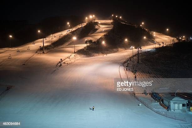 This photo taken on February 9 2015 shows a general view of the slopes of the Alpensia resort a venue of the Pyeongchang 2018 Winter Olympics in...