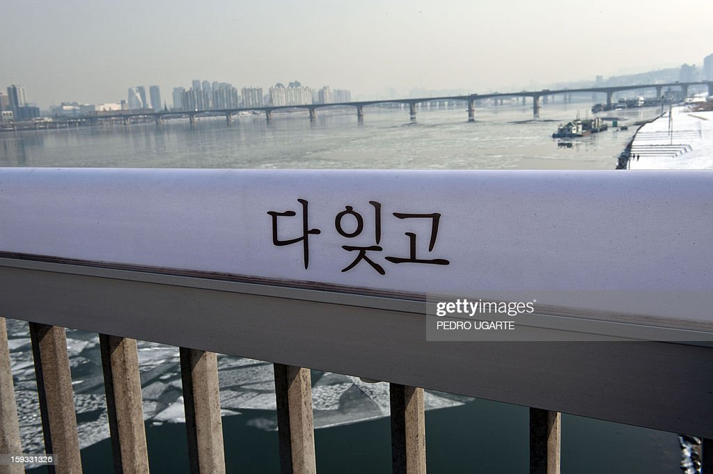 This photo taken on January 11, 2013 shows a message in Korean reading 'Forget Everything' placed by the government to dissuade suicides at Mapo Bridge over Seoul's Han river. The South Korean capital has installed anti-suicide monitoring devices on bridges over the city after 196 people jumped to their deaths on 2012 according to South Korean officials. The new initiative -- in a country with the highest suicide rate among leading developed nations -- incorporates closed-circuit television cameras programmed to recognize motions that suggest somebody might be preparing to jump from a bridge. AFP PHOTO / Pedro UGARTE