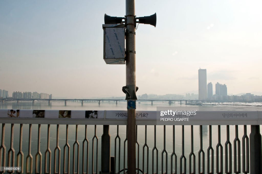 This photo taken on January 11, 2013 shows a panic button in case of suicides placed by the government at Mapo Bridge -a common site for suicides- over Seoul's Han river. The South Korean capital has installed anti-suicide monitoring devices on bridges over the city after 196 people jumped to their deaths on 2012 according to South Korean officials. The new initiative -- in a country with the highest suicide rate among leading developed nations -- incorporates closed-circuit television cameras programmed to recognize motions that suggest somebody might be preparing to jump from a bridge. AFP PHOTO / Pedro UGARTE