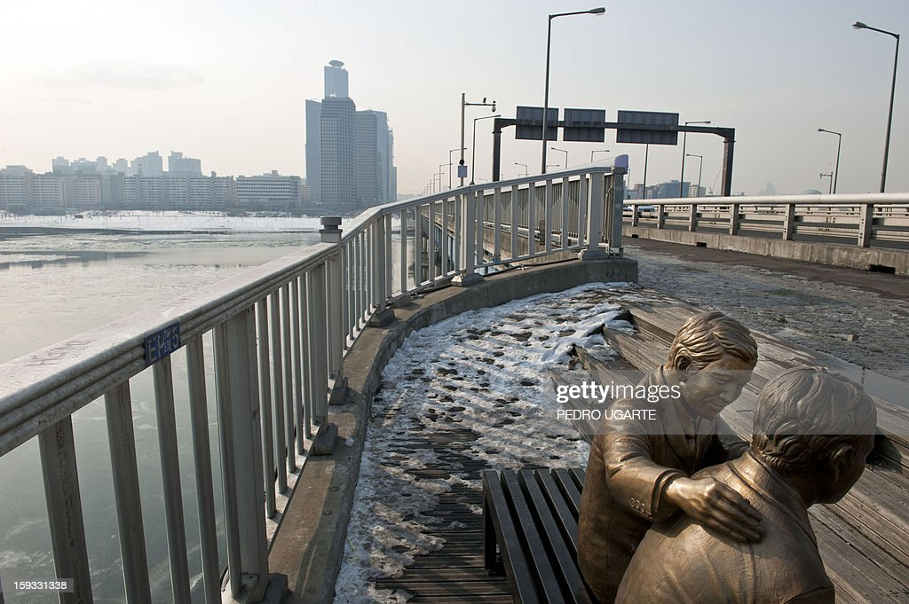 This photo taken on January 11, 2013 shows a statue (R) of a man comforting a person placed by the government to dissuade potential suicides at Mapo Bridge -a common site for suicides- over Seoul's Han river. The South Korean capital has installed anti-suicide monitoring devices on bridges over the city after 196 people jumped to their deaths on 2012 according to South Korean officials. The new initiative -- in a country with the highest suicide rate among leading developed nations -- incorporates closed-circuit television cameras programmed to recognize motions that suggest somebody might be preparing to jump from a bridge. AFP PHOTO / Pedro UGARTE