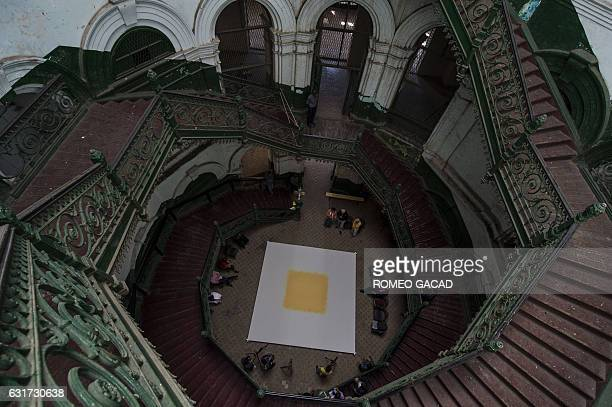 This photo taken on January 14 2017 shows a large art installation sprinkled with pollen in the centre created by multiawarded German conceptual...