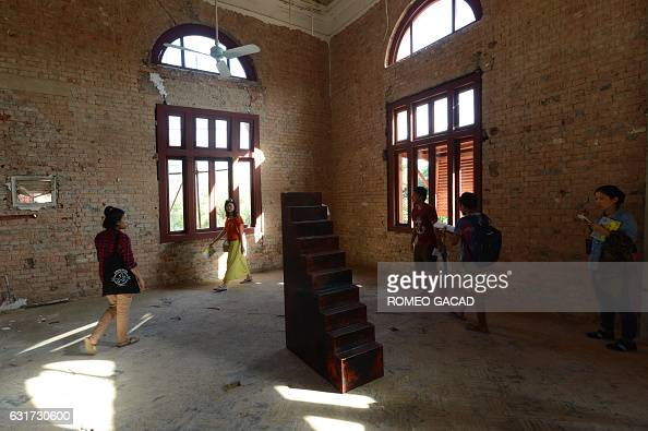 This photo taken on January 14 2017 shows an art installation of a wooden stairway coated in Burmese lacquer created by multiawarded German...