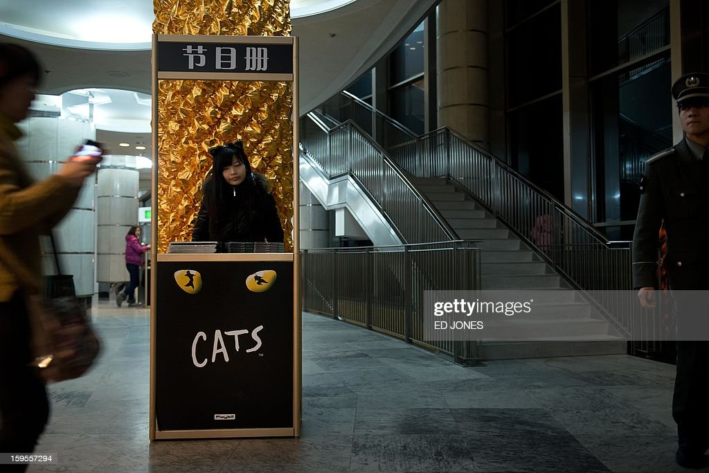This photo taken on January 15, 2013 shows a merchandise stall vendor (C) during a Chinese performance of 'Cats' at the Century Theatre in Beijing. Featuring a kung-fu cat, and a set design that includes bird cages and Peking duck, the culturally adapted Mandarin version of British composer Andrew Lloyd Webber's hit musical 'Cats' is hoping to bring West End success to the far east. The show, which runs until February 3, is on the final leg of a country-wide tour after passing through Shanghai, Chonqing, and Guangzhou. Western musicals have traditionally been rare in China with 'Cats' following its compatriot spectacle 'Mamma Mia!' as the country's second localised large-scale musical theatre production. AFP PHOTO / Ed Jones