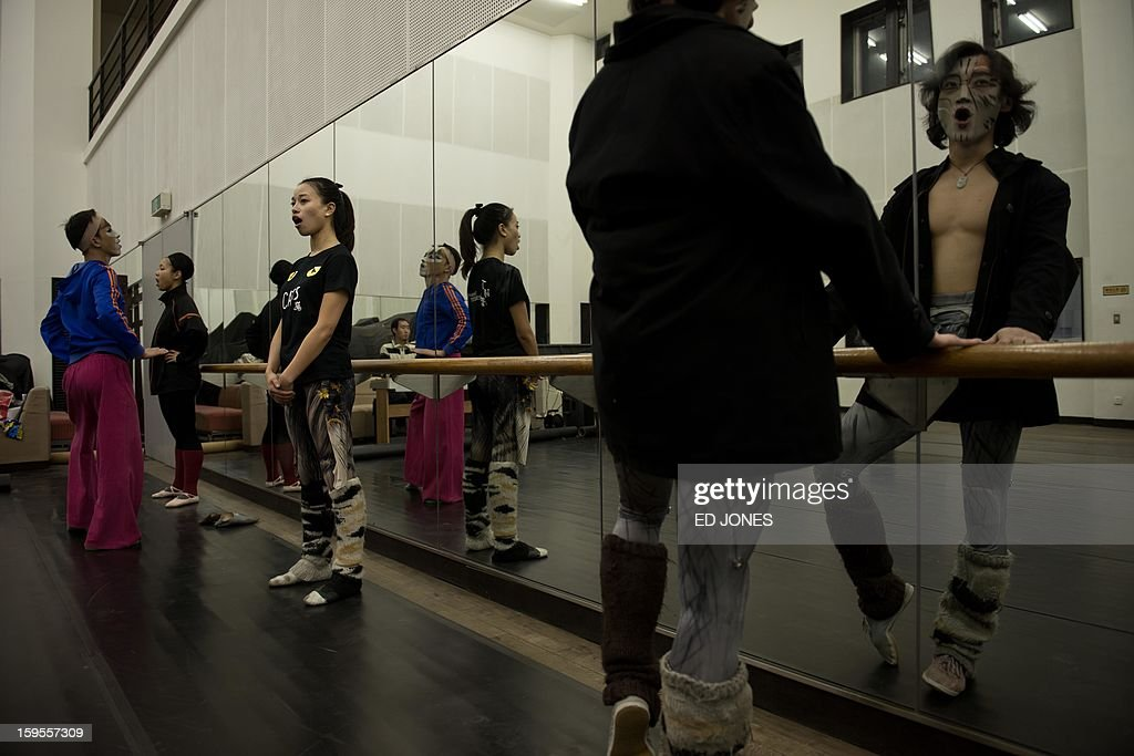 This photo taken on January 15, 2013 shows performers as they warm up prior to a Chinese performance of 'Cats' at the Century Theatre in Beijing. Featuring a kung-fu cat, and a set design that includes bird cages and Peking duck, the culturally adapted Mandarin version of British composer Andrew Lloyd Webber's hit musical 'Cats' is hoping to bring West End success to the far east. The show, which runs until February 3, is on the final leg of a country-wide tour after passing through Shanghai, Chonqing, and Guangzhou. Western musicals have traditionally been rare in China with 'Cats' following its compatriot spectacle 'Mamma Mia!' as the country's second localised large-scale musical theatre production. AFP PHOTO / Ed Jones