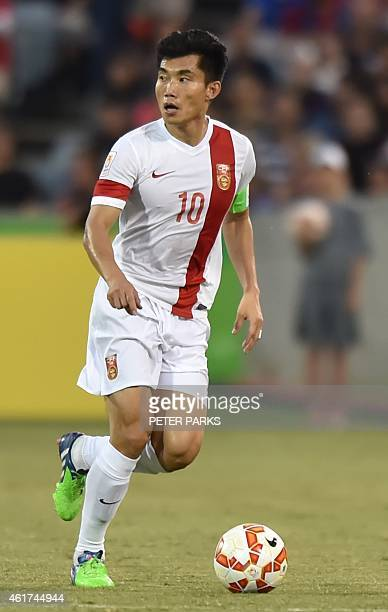 This photo taken on January 18 2015 shows Zheng Zhi of China playing during their Group B football match against North Korea in the AFC Asian Cup in...