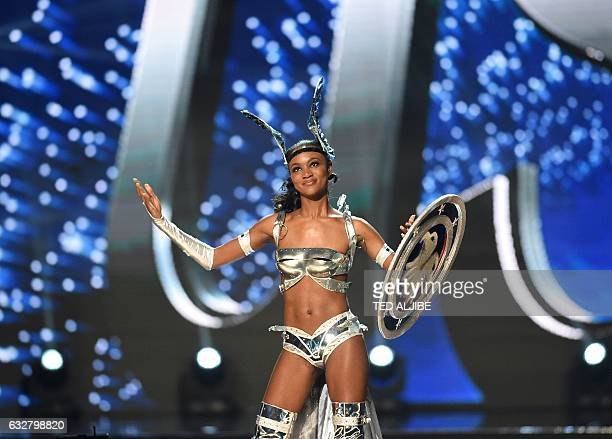 This photo taken on January 26 2017 shows Miss Universe contestant Deshauna Barber of the US during the national costume presentation in the...