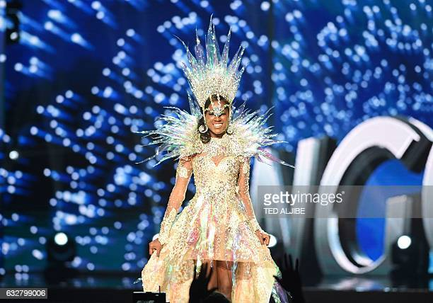 This photo taken on January 26 2017 shows Miss Universe contestant Luisa Baptista of Angola during the national costume presentation in the...