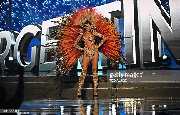 This photo taken on January 26 2017 shows Miss Universe contestant Stefania Bernal of Argentina during the national costume presentation in the...