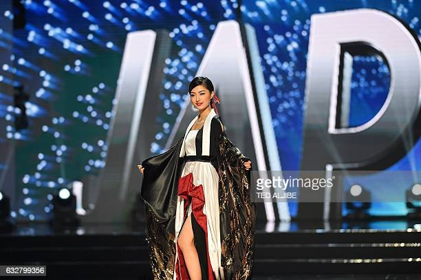 This photo taken on January 26 2017 shows Miss Universe contestant Zari Nakzawa of Japan during the national costume presentation in the preliminary...