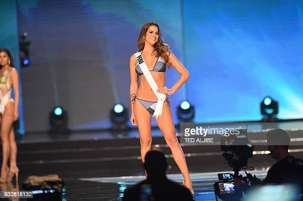 This photo taken on January 26 2017 shows Miss Universe contestant Valeria Piazza of Peru in her swimsuit during the preliminary competition of the...
