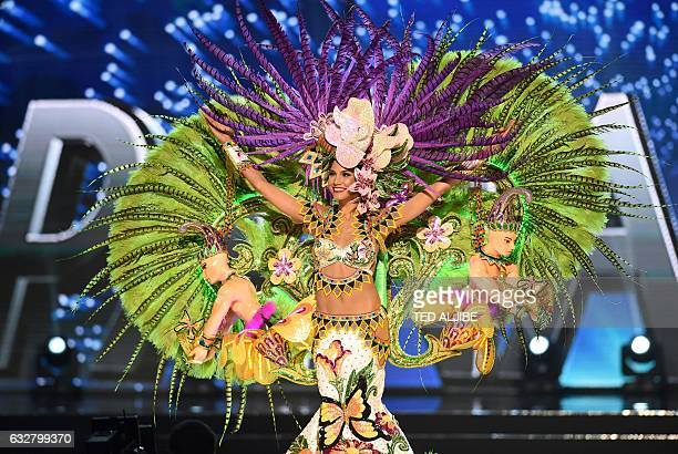This photo taken on January 26 2017 shows Miss Universe Keity Drenan of Panama during the national costume presentation in the preliminary...
