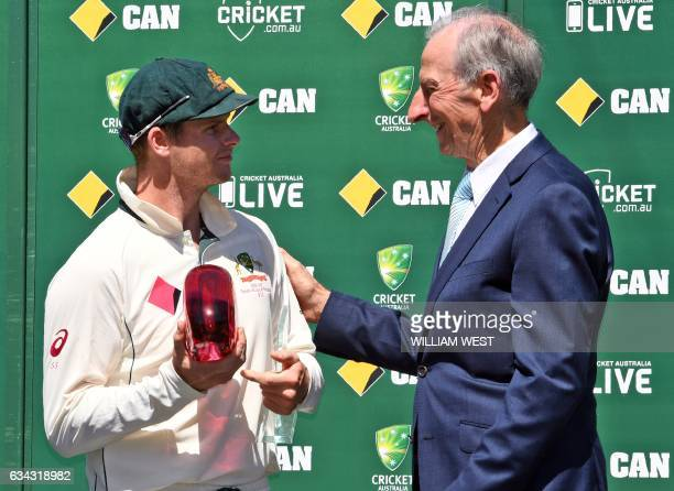 This photo taken on January 7 2017 shows former Australian cricket captain Bill Lawry who later became a well known cricket commentator presenting an...