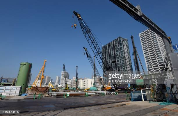 This photo taken on July 12 2017 shows the construction site for the Ariake Arena which will be used for volleyball during the 2020 Olympic Games and...