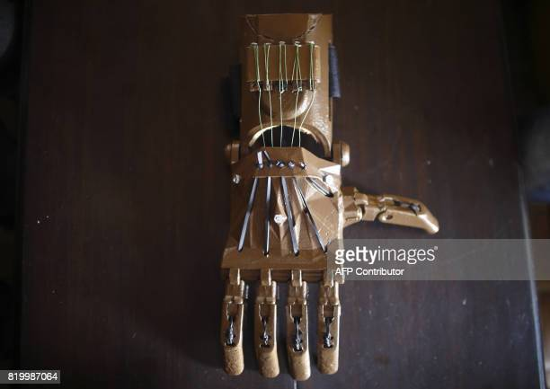 This photo taken on July 14 2017 shows a 3D printed prosthetic hand after being prepared by the Disaster Hack company in Kathmandu Disaster Hack is a...