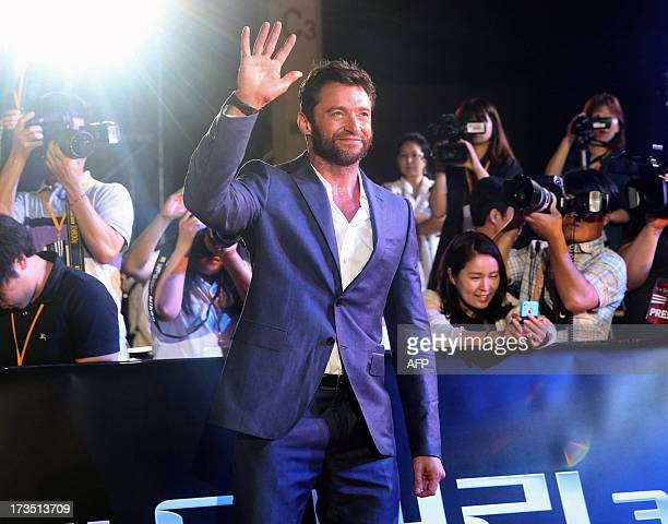 This photo taken on July 15 2013 shows Australian actor Hugh Jackman attending the 'Wolverine' red carpet event in Seoul REPUBLIC OF KOREA OUT JAPAN...