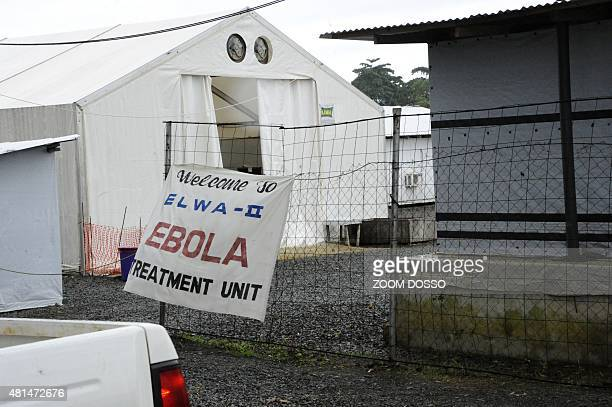 This photo taken on July 20 2015 shows the entrance to the Elwa clinic an ebola treatment center in Monrovia AFP PHOTO / ZOOM DOSSO