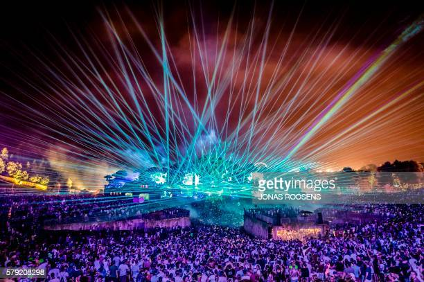 TOPSHOT This photo taken on July 22 2016 at the De Schorre recreation area in Boom shows the first day of the Tomorrowland Electronic Music Festival...