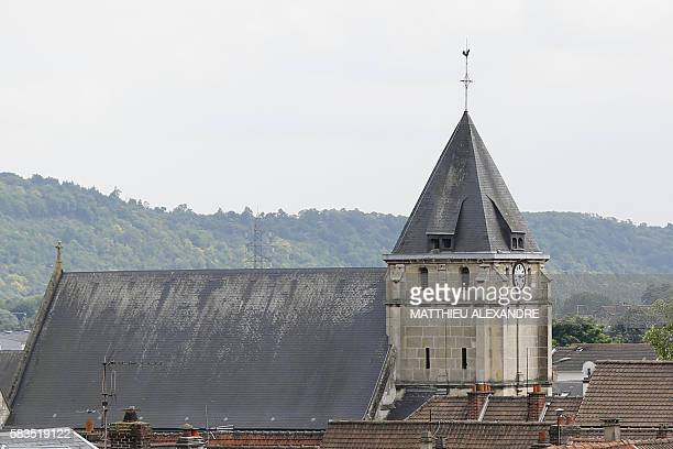 This photo taken on July 26 2016 shows a partial view of the SaintEtienne church in the Normandy city of SaintEtienneduRouvray where a priest was...
