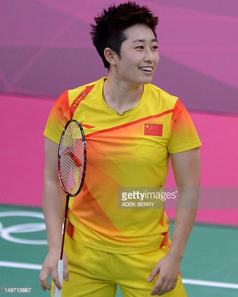 This photo taken on July 31 2012 shows Yu Yang during her women's double badminton match with her teammate Wang Xiaoli against Kim HaNa and Jung...