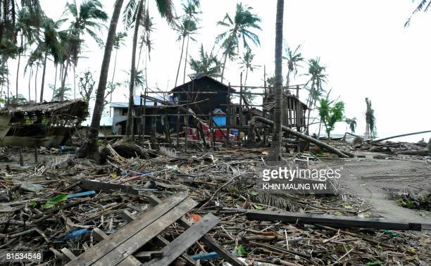 This photo taken on June 10 2008 shows the damage sustained to a village after being hit by Cyclone Nargis in Heingyigyun town in the Irrawaddy Delta...