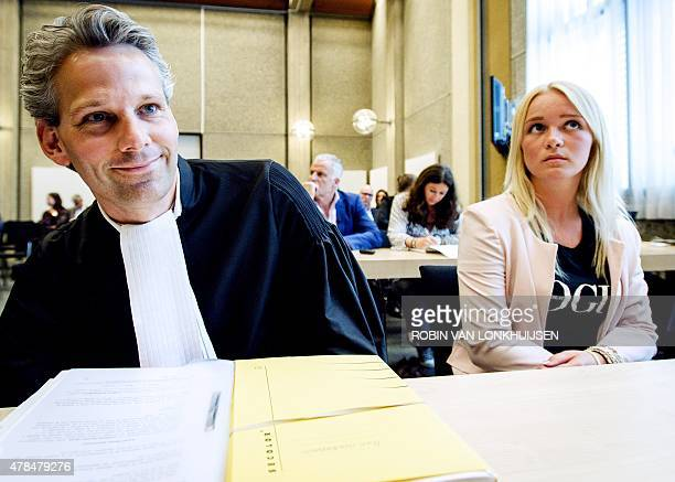 This photo taken on June 11 2015 shows a woman identified as 'Chantal' and her lawyer Thomas van Vugt sitting in court in Amsterdam during a hearing...