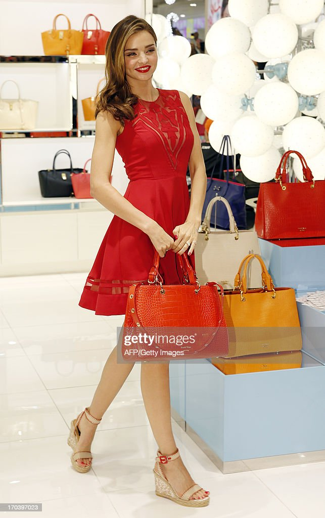 This photo taken on June 12, 2013 shows Australian model Miranda Kerr posing at a Lotte Department store in Seoul. REPUBLIC