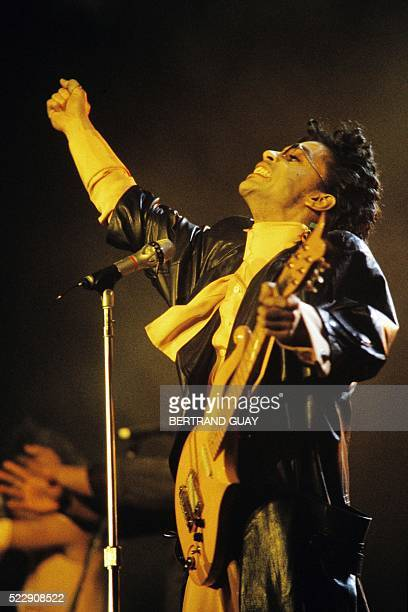 This photo taken on June 15 1987 shows musician Prince performing on stage during his concert at the Bercy venue in Paris Pop icon Prince whose...
