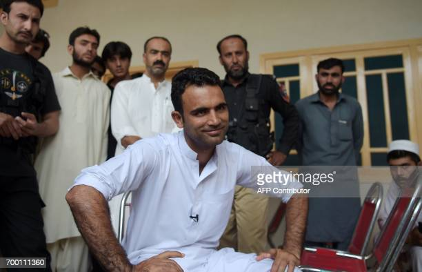 This photo taken on June 21 2017 shows Pakistani cricketer Fakhar Zaman taking part in an interview with AFP at his guesthouse in his home village of...