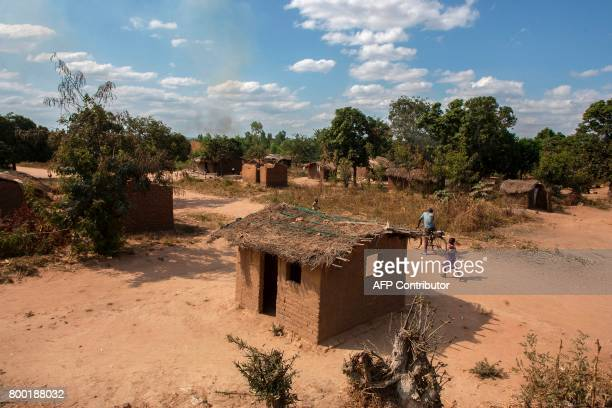 This photo taken on June 22 2017 shows Kamkwamba Village in Kasungu during a presentation for the UNICEFfunded Humanitarian Drone Corridor testing...