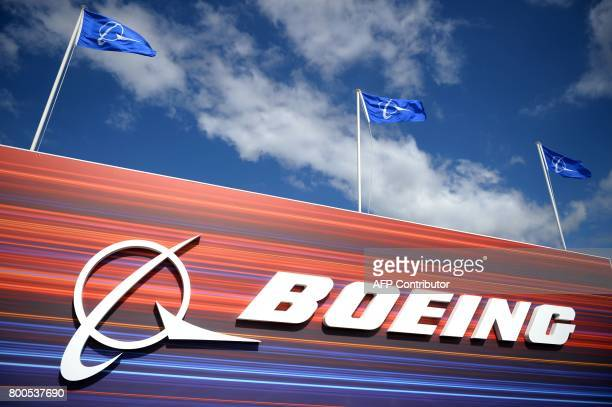This photo taken on June 24 2017 at Le Bourget airport near Paris shows the Boeing pavillion during the public days the International Paris Air Show...