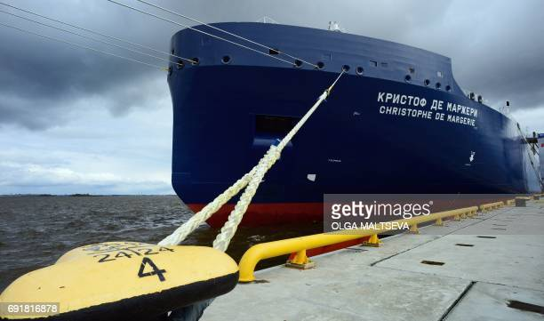 This photo taken on June 3 2017 the new Russian 'Christophe de Margerie' Arctic LNG tanker on the side of the International Economic Forum following...