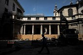 This photo taken on June 7 2016 shows an employee of Eiffage Construction group working in the yard of the Hotel Dieu in Lyon The renovation of the...