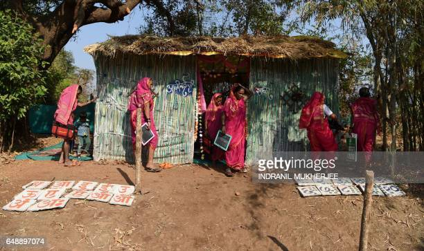 This photo taken on March 1 2017 shows women leaving a class at Aajibaichi Shala or 'school for grannies' in the local Marathi language in Phangane...