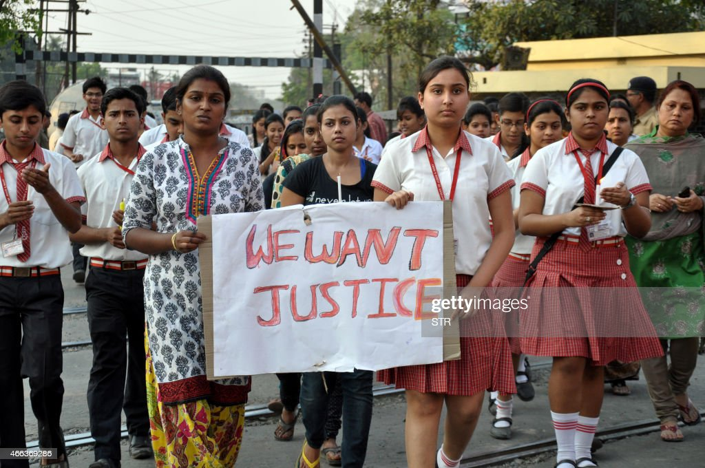 This photo taken on March 14 2015 shows students from the Convent of Jesus and Mary in Ranaghat 70 kilometres north of Kolkata protesting after a...