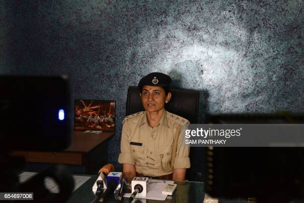 This photo taken on March 17 2017 shows Panna Momaya an Indian assistant commissioner of police in Ahmedabad holding a press conference in Ahmedabad...