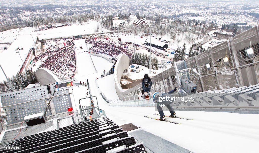 This photo taken on March 17 shows Norwegian Gyda Enger during FIS World Cup women`s ski jumping competition in Holmenkollen skiing venue during in...