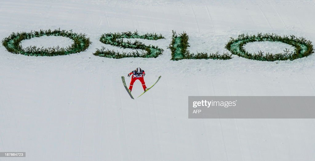 This photo taken on March 17 shows shows Norwegian Anette Sagen during FIS World Cup women`s ski jumping competition in Holmenkollen skiing venue...