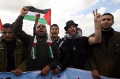 This photo taken on March 18 2010 shows a foreign peace activist Vittorio Arrigoni as he takes part in a protest against an Israeli decision to...