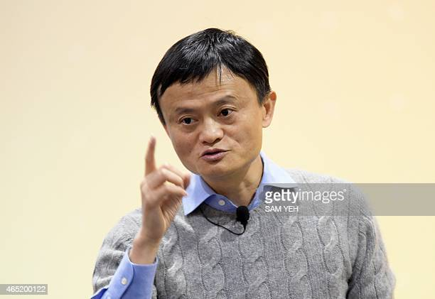 This photo taken on March 3 2015 shows founder and executive chairman of Alibaba Group Jack Ma gesturing during a speech at National Taiwan...