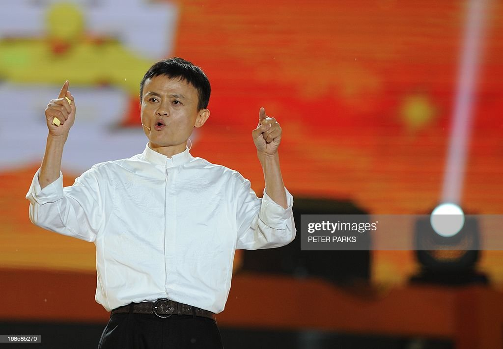 This photo taken on May 10, 2013 shows Alibaba founder Jack Ma speaking at an event to mark the 10th anniversary of China's most popular online shopping destination Taobao Marketplace, in the eastern Chinese city of Hangzhou. Alibaba chief Jack Ma stepped down on May 10 before a potential initial public offering as the Chinese online retail giant announced a 294 million USD stake purchase in digital mapping firm AutoNavi. AFP PHOTO / Peter PARKS