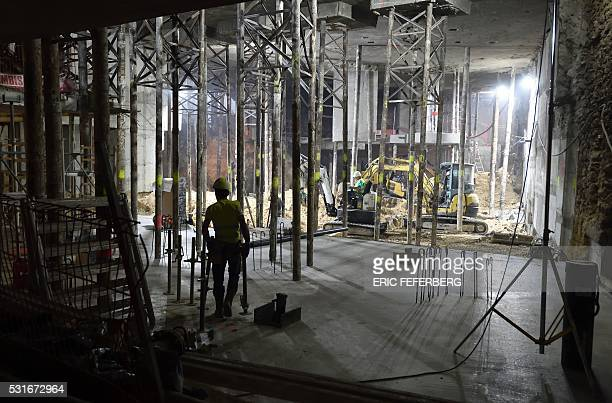This photo taken on May 12 2016 in Paris shows the thirdlevel basement of the Lutetia hotel under construction The renovation of the prestigious...