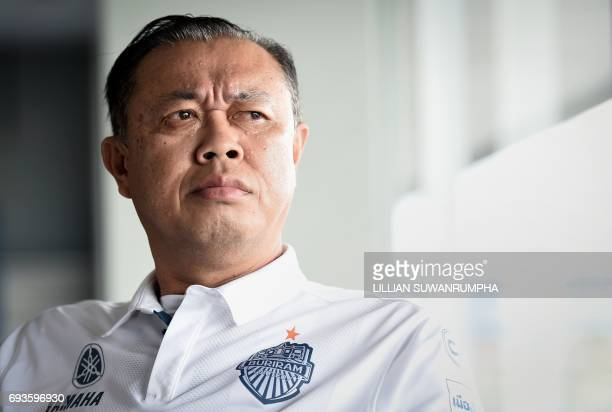 This photo taken on May 17 2017 shows 58yearold former Thai MP Newin Chidchob during an interview at the Chang International Circuit in the...