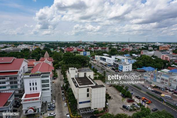 This photo taken on May 17 2017 shows a general view of the city center of Buriram A 'godfather' of Thai politics is using cash and contacts to...