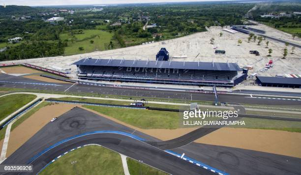 This photo taken on May 17 2017 shows the grandstand and starting line of the Chang International Circuit Thailand's first FIA Grade 1 approved...