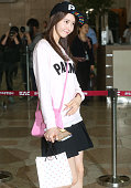 This photo taken on May 22 2014 shows South Korean idol 'Girl's Generation' member YooNa departing from Gimpo International Airport to attend Japan...