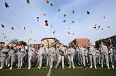 TOPSHOT This photo taken on May 24 2016 shows senior high students flying paper planes to release stress before the college entrance exams at a high...
