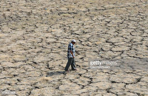This photo taken on May 28 2015 shows an Indian man walking across the driedout bed of Lake Ahmad Sar as extreme heat conditions prevail in Ahmedabad...